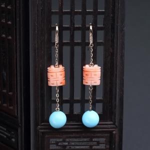 18K金鑲鉆深水粉色珊瑚雙喜耳墜