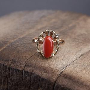 14K金鑲阿卡正紅珊瑚戒指