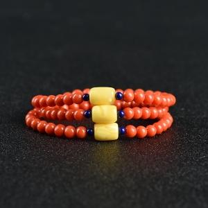 沙丁朱紅珊瑚手串
