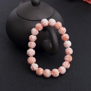 10mm深水粉色珊瑚龍珠單圈手串