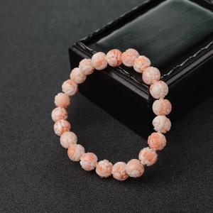 8.5mmMISU粉紅珊瑚龍珠單圈手串