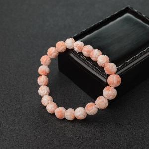 9.5mmMISU粉紅珊瑚龍珠單圈手串