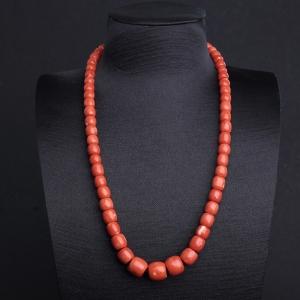 MOMO橘红珊瑚鼓珠塔链