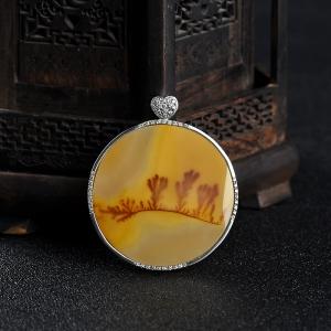 銀鑲山料橙黃黃龍玉水草花吊墜