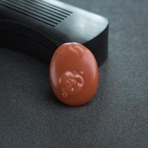 柿子红南红弥勒佛吊坠