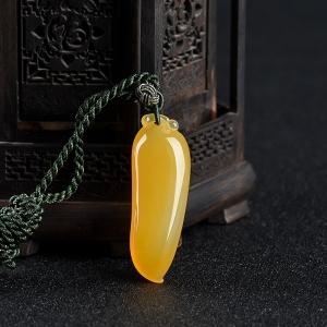 山料橙黄黄龙玉福瓜吊坠