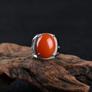 18k柿子红南红戒指