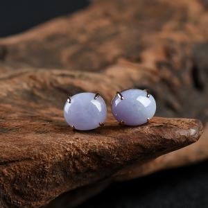18k糯种紫罗兰翡翠蛋面耳钉