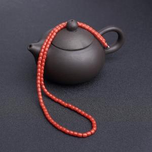 沙丁朱红珊瑚桶珠项链
