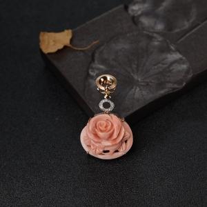 18K金镶钻深水粉色珊瑚花吊坠