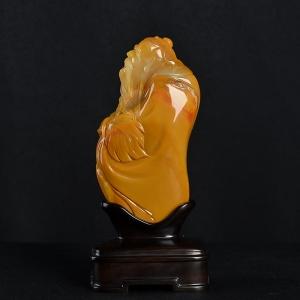 山料橙黄黄龙玉孔子摆件
