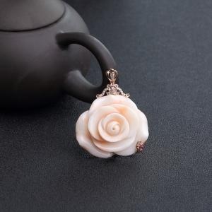 18K金鑲鉆MISU粉紅珊瑚花吊墜