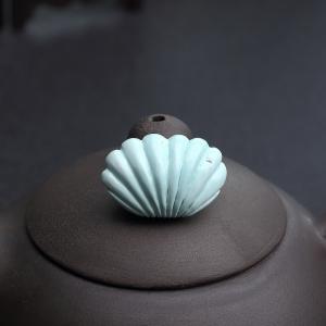 中瓷鐵線淺藍綠松石貝殼吊墜