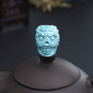高瓷铁线蓝绿松石骷髅头三通