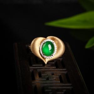 18K高冰种翠绿翡翠戒指