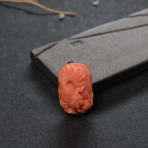 MOMO橘红珊瑚连年有余吊坠