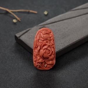 MOMO橘红珊瑚花鸟吊坠