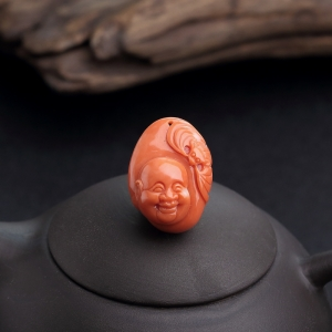 MOMO橘色珊瑚佛吊坠