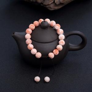 深水粉红珊瑚龙珠单圈手串