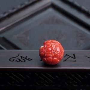 15.5mm阿卡朱红珊瑚龙珠