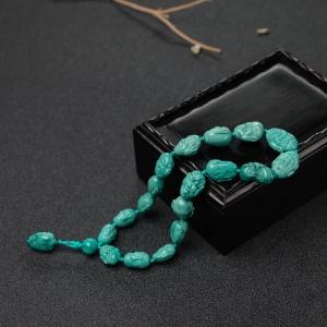 高瓷铁线蓝绿绿松石十八罗汉手持