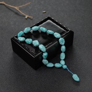 高瓷铁线蓝绿松石十八罗汉手持
