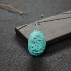 高瓷铁线蓝绿松石花鸟吊坠