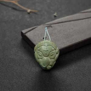高瓷铁线黄绿绿松石象神吊坠