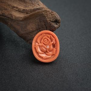 MOMO橘色珊瑚玫瑰花吊墜