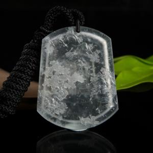 玻璃种无色翡翠源远流长吊坠