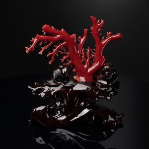 阿卡正红珊瑚树枝摆件
