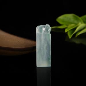 糯冰种飘翠翡翠年年有余印章