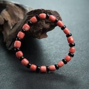 MOMO橘红珊瑚桶珠单圈手串