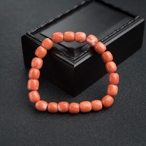MOMO橘紅珊瑚桶珠單圈手串
