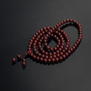 6mm半星鸡血红小叶紫檀108佛珠