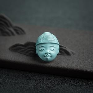 中高瓷浅蓝绿松石童子背云
