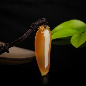 山料橙黃黃龍玉福瓜吊墜