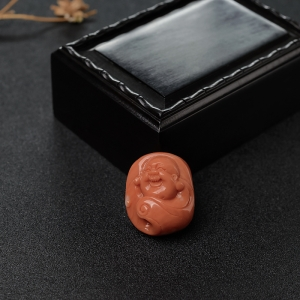 MOMO橘紅珊瑚彌勒佛吊墜