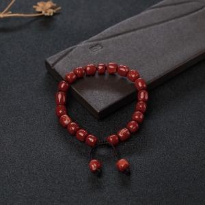 阿卡正红珊瑚桶珠手链