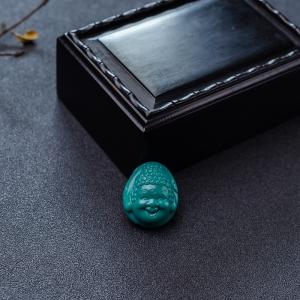 高瓷铁线蓝绿绿松石宝宝佛吊坠
