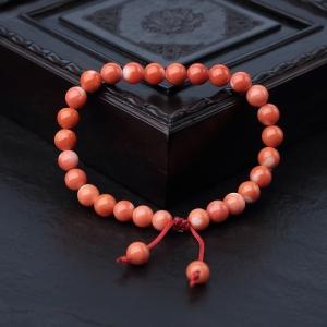 6.5mmMOMO橘色珊瑚单圈手串