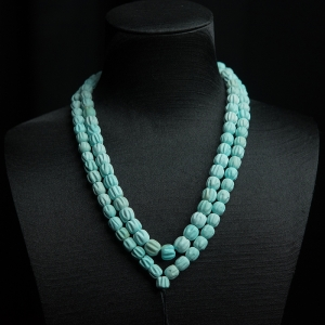 中瓷铁线浅蓝绿松石百香籽108佛珠