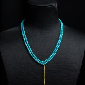 3.5mm中高瓷铁线蓝绿松石珠链