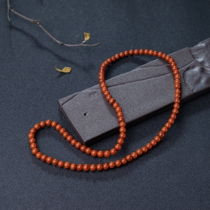 6mm柿子红南红项链