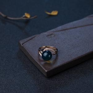 18K金镶钻净水多米蓝珀戒指