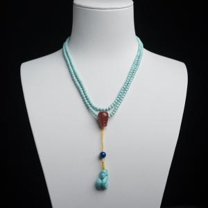 3mm中高瓷铁线浅蓝绿松石项链