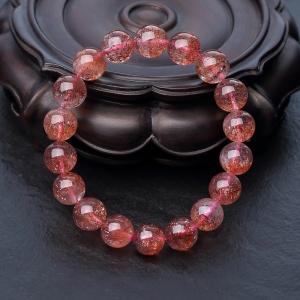 11mm金草莓晶单圈手串