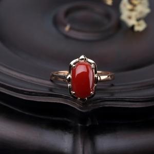 18K金鑲阿卡正紅珊瑚戒指