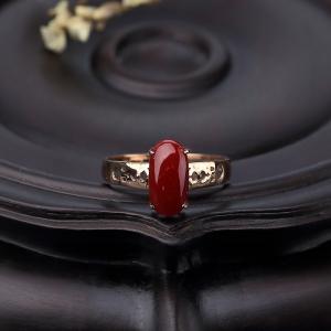 18K金鑲阿卡深紅珊瑚戒指