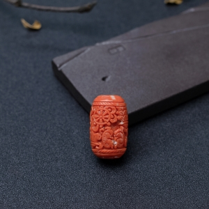 MOMO橘色珊瑚雕花桶珠